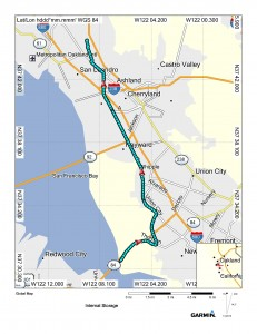 Map (Fremont to San Leandro)